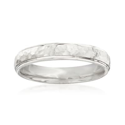 Men's 4mm 14kt White Gold Wedding Band