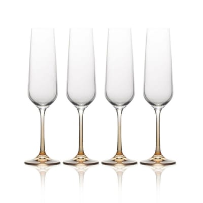 "Mikasa ""Gianna"" Set of 4 Ombre Amber Champagne Flutes"
