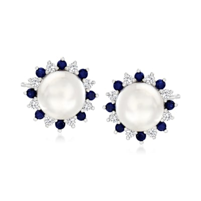 7-7.5mm Cultured Pearl and .80 ct. t.w. Multicolored Sapphire Earrings in Sterling Silver