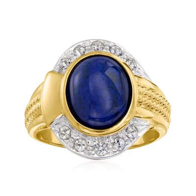 C. 1980 Vintage Lapis and .50 ct. t.w. White Topaz Ring in 10kt Yellow Gold