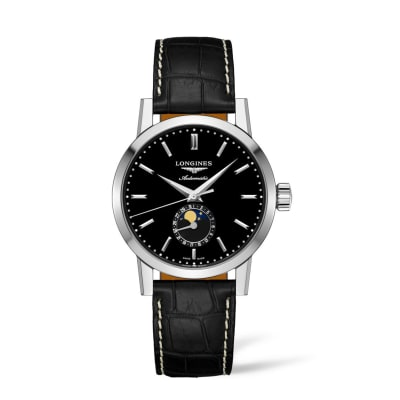 Longines 1832 Men's 40mm Automatic Moon Phase Stainless Steel Watch with Black Leather