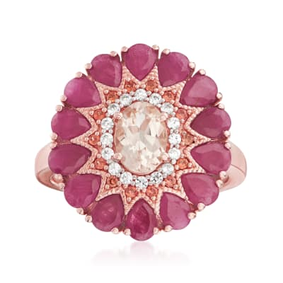4.50 ct. t.w. Multi-Gemstone Ring in 18kt Rose Gold Over Sterling