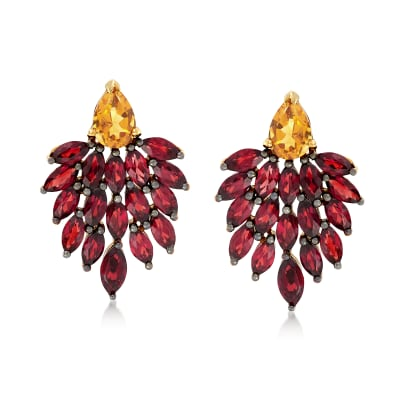 5.00 ct. t.w. Garnet and 1.50 ct. t.w. Citrine Drop Earrings in 18kt Gold Over Sterling