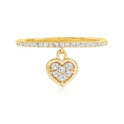 .20 ct. t.w. Diamond Heart Charm Ring in 14kt Yellow Gold