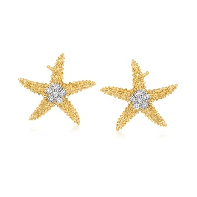 .10 ct. t.w. Diamond Starfish Earrings in 18kt Gold Over Sterling