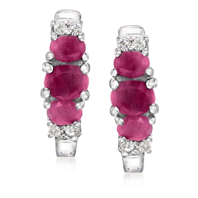 1.40 ct. t.w. Ruby and .16 ct. t.w. White Topaz Hoop Earrings in Sterling Silver