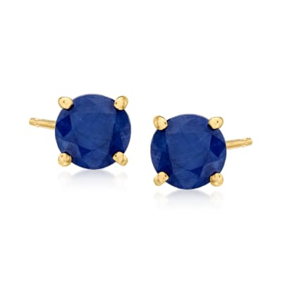 1.30 ct. t.w. Round Sapphire Stud Earrings in 14kt Yellow Gold