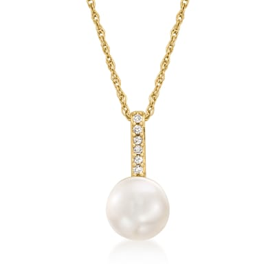 6-6.5mm Cultured Pearl Pendant Necklace with Diamond Accents in 14kt Yellow Gold
