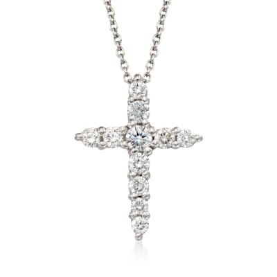 Roberto Coin .39 ct. t.w. Diamond Cross Pendant Necklace in 18kt White Gold