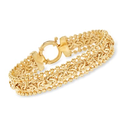 18kt Gold Over Sterling Byzantine Beaded-Edge Bracelet