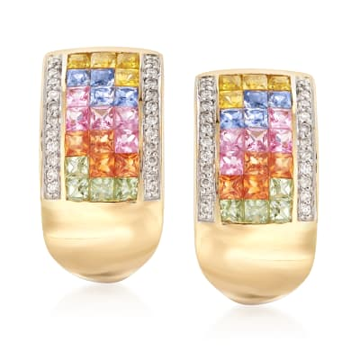 2.10 ct. t.w. Multicolored Sapphire and .22 ct. t.w. Diamond Drop Earrings in 18kt Gold