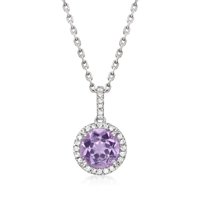 1.50 Carat Amethyst Pendant Necklace with Diamond Accents in Sterling Silver