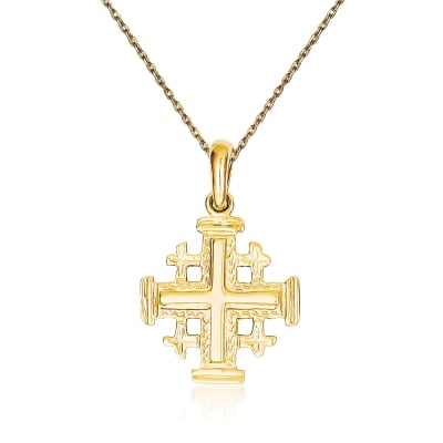 14kt Yellow Gold Jerusalem Cross Pendant Necklace
