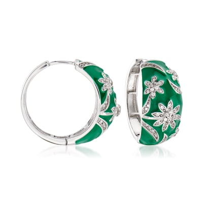.70 ct. t.w. White Topaz and Green Enamel Flower Hoop Earrings in Sterling Silver