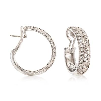 C. 1990 Vintage 4.50 ct. t.w. Diamond Hoop Earrings in 18kt White Gold