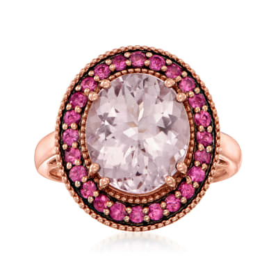 3.80 Carat Morganite Ring with .40 ct. t.w. Pink Sapphires in 18kt Rose Gold