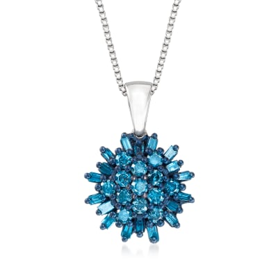 .75 ct. t.w. Blue Diamond Cluster Pendant Necklace in Sterling Silver