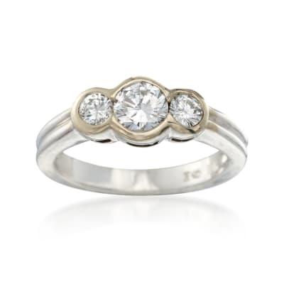 C. 1990 Vintage .80 ct. t.w. Bezel-Set Diamond Ring in 18kt White Gold