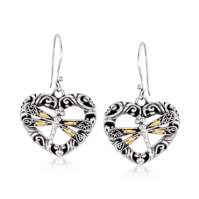 Sterling Silver Bali-Style Dragonfly Heart Drop Earrings with 18kt Gold