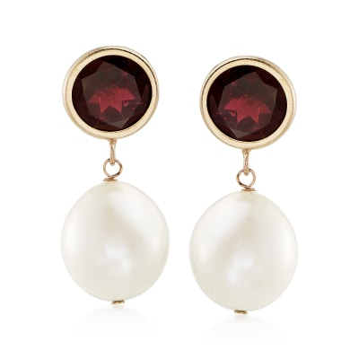 9.5-10mm Cultured Pearl and 4.00 ct. t.w. Garnet Drop Earrings in 14kt Yellow Gold