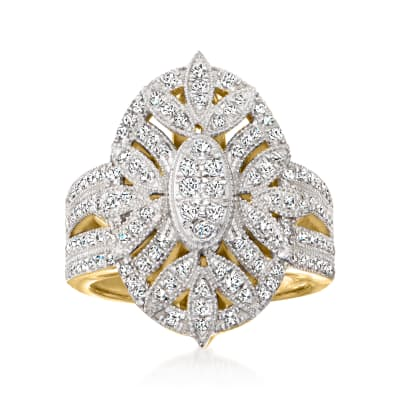 .75 ct. t.w. Diamond Ring in 18kt Gold Over Sterling