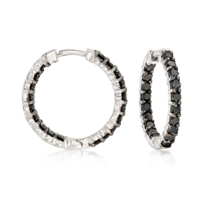 2.00 ct. t.w. Black Diamond Inside-Outside Hoop Earrings in Sterling Silver