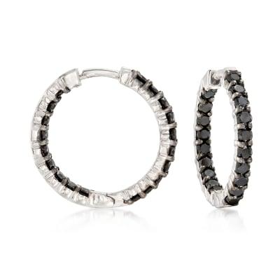 2.00 ct. t.w. Black Diamond Inside-Outside Hoop Earrings in Sterling Silver