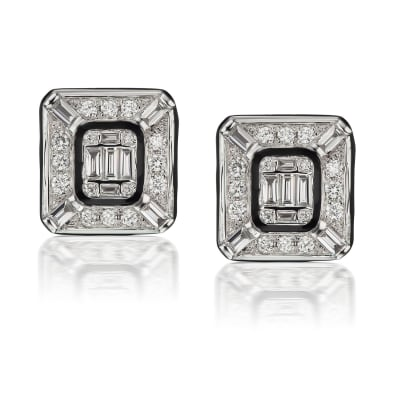 .76 ct. t.w. Round and Baguette Diamond Cluster Earrings in 18kt White Gold with Black Enamel
