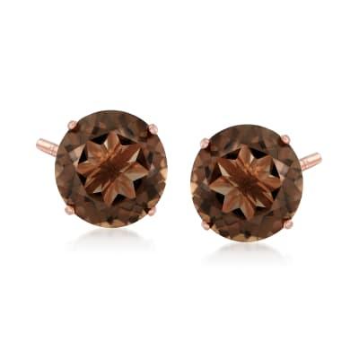 4.80 ct. t.w. Smoky Quartz Stud Earrings in 14kt Rose Gold