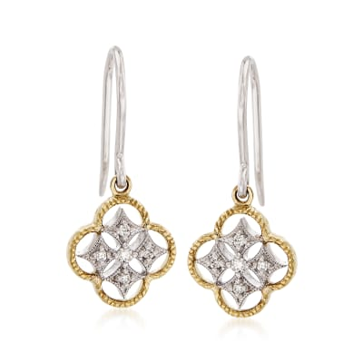 18kt Two-Tone Gold Openwork Clover Drop Earrings with Diamond Accents
