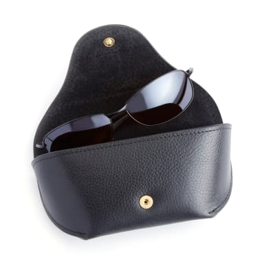 Royce Black Pebbled Leather Sunglasses Case