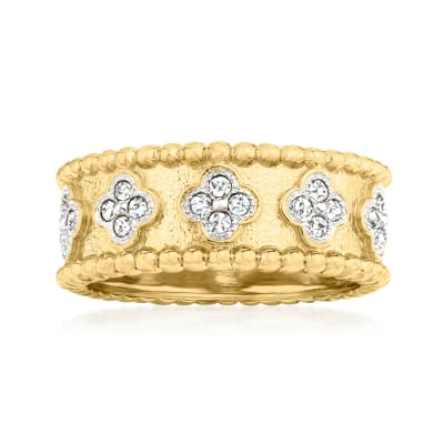 .50 ct. t.w. Diamond Clover Ring in 18kt Gold Over Sterling
