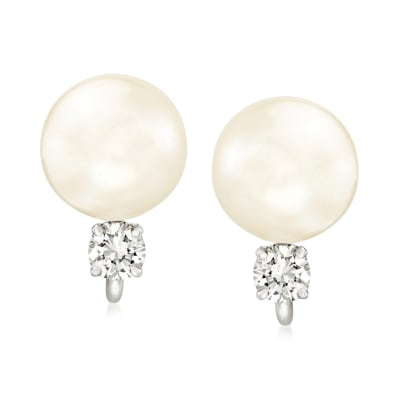 C. 1970 Vintage 9mm Cultured Pearl and .35 ct. t.w. Diamond Earrings in 14kt White Gold