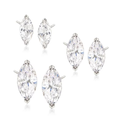 6.00 ct. t.w. CZ Jewelry Set: Three Pairs of Marquise Stud Earrings in Sterling Silver