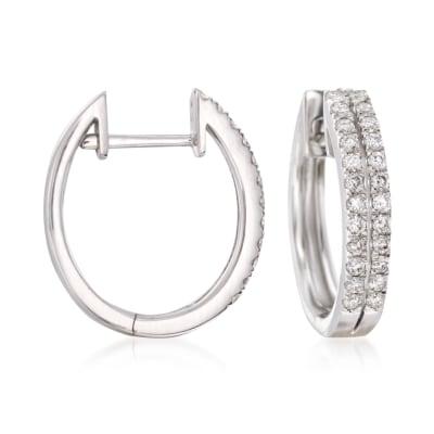 .50 ct. t.w. Diamond Two-Row Hoop Earrings in 14kt White Gold