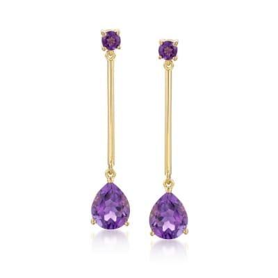 4.80 ct. t.w. Amethyst Drop Earrings in 14kt Gold Over Sterling