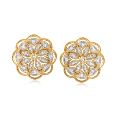 .50 ct. t.w. Diamond Openwork Flower Earrings in 18kt Gold Over Sterling