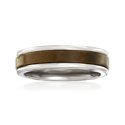 Men's 6mm Tungsten Carbide and Wood Center Wedding Ring