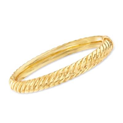 18kt Gold Over Sterling Spiraled Oval Bangle Bracelet