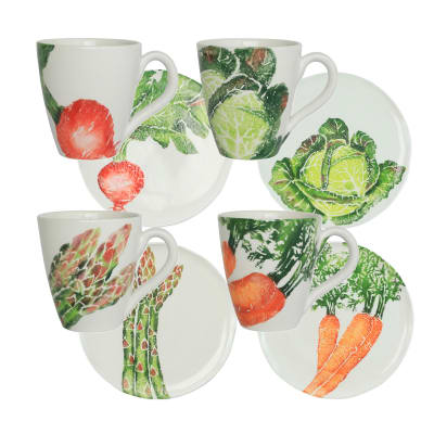 "Vietri ""Spring Vegetables"" Set of 4 Assorted Dinnerware from Italy"