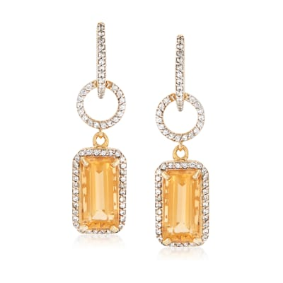 8.00 ct. t.w. Citrine and 1.20 ct. t.w. White Zircon Drop Earrings in 18kt Gold Over Sterling