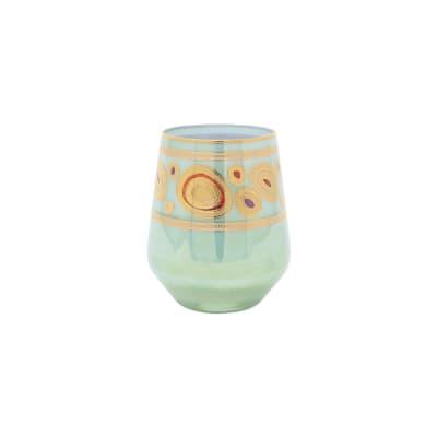 "Vietri ""Regalia"" Aqua Stemless Wine Glass"