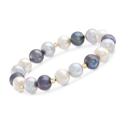 9-10mm Multicolored Cultured Pearl Stretch Bracelet with 14kt Yellow Gold