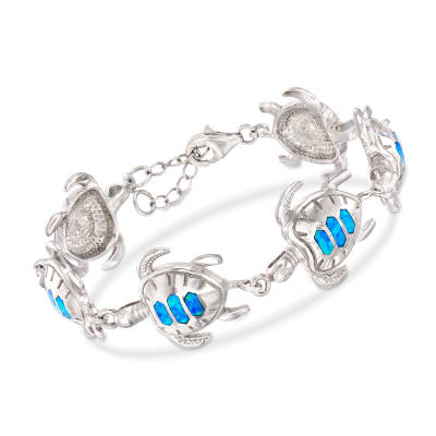 Blue Synthetic Opal Turtle Bracelet in Sterling Silver