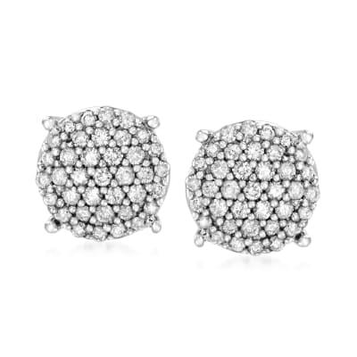 .33 ct. t.w. Diamond Cluster Stud Earrings in Sterling Silver