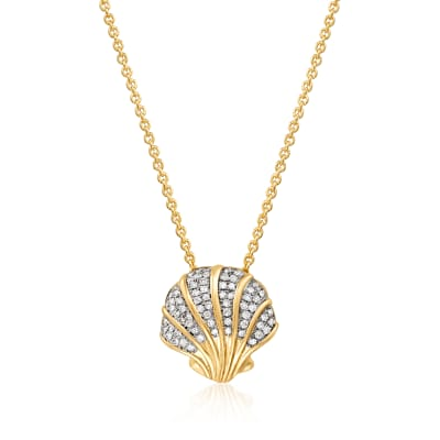 .20 ct. t.w. Diamond Scalloped Seashell Pendant Necklace in Sterling Silver and 18kt Gold Over Sterling