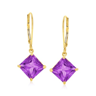 4.60 ct. t.w. Amethyst Drop Earrings in 14kt Yellow Gold