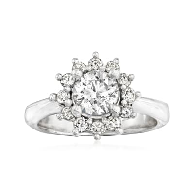 C. 1990 Vintage 1.30 ct. t.w. Diamond Cluster Ring in 14kt White Gold