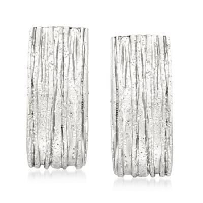 Italian Sterling Silver Sparkle Tree Bark Earrings