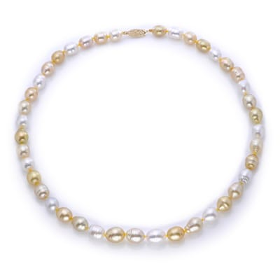 8-10mm Multicolored Cultured South Sea Pearl Necklace with 14kt Yellow Gold